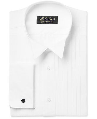 $278 MICHELSONS Men CLASSIC-FIT FRENCH-CUFF WHITE TUXEDO DRESS SHIRT 17.5 34/35