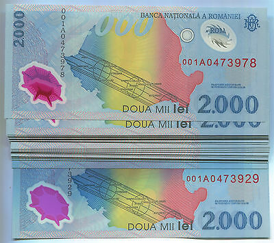 Romania N020b 1999, 2000 Lei Polymer, Solar Eclipse UNC sequential, 50 banknotes