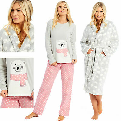 Ladies Womens Dressing Gown Pyjamas Polar Fleece Bath Robe Pjs Night Lounge Wear