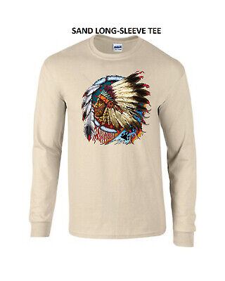 Native American Indian Chief Long Sleeve T Tee Shirt New