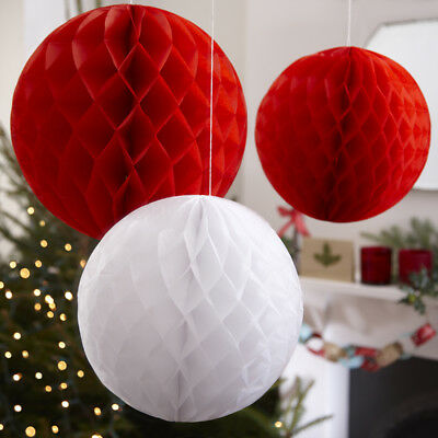 Ginger Ray Red & White Honeycomb Balls, Christmas Decorations - pack of 3