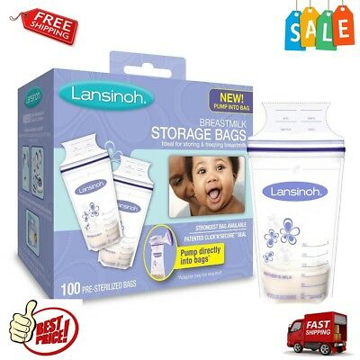 Breastmilk Storage Bags w/Convenient Pour Spout Double Zipper Seal 100pc BPAfree