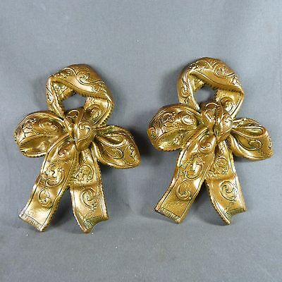 Pair of French Antique Golden Bronze Ribbon Finials or Cover Nails 19th century