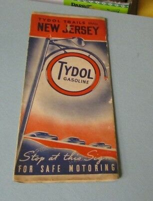 1938 Tydol Gasoline Trails Through New Jersey Road Map Great Color Graphics