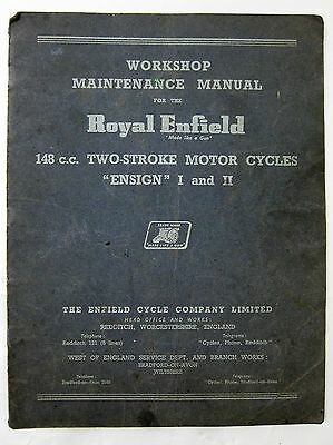 ROYAL ENFIELD 148cc TWO-STROKE ENSIGN I & II WORKSHOP MAINTENANCE MANUAL 1 & 2