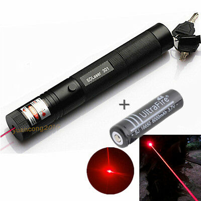 10 miles visible powerful laser beam 650nm 5mw 301 Red Laser Pen + 18650 Battery