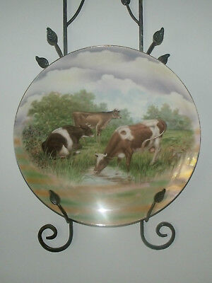German Porcelain Charger Cattle Grazing