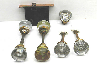Vintage Antique Door Hardware Lot 7 Glass Knobs Closet / Door+Lock+Trim Plate