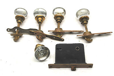 Vintage Antique Door Hardware Lot 5 Glass Knobs Closet Door+Lock+ 8 Trim Plates