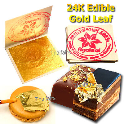 20 Edible Gold Leaf Sheets 24K 100% Pure Cake Decoration Macaroon Dessert Drink