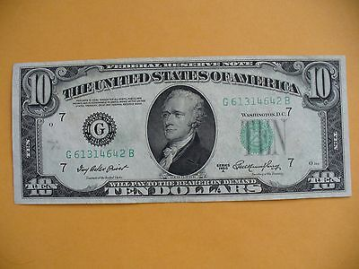 1950 A CHICAGO 10 Dollar Federal Reserve Note G 61314642 B