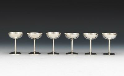 Six German 800 Silver Mint Jelly Footed Cups by Adolf Kander
