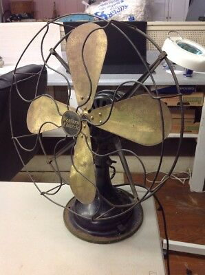 "VINTAGE ANTIQUE WESTERN ELECTRIC LARGE 16"" Brass 4 BLADE 3 SPEED OSCULATING FAN"