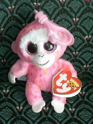 """Ty Beanie Boo 3"""" clip RUBY (PINK  MONKEY)   Mint/Mint tag * RARE * Retired"""