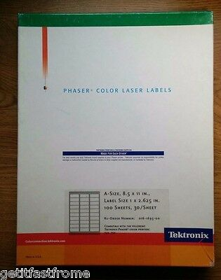 "Tektronix Phaser Color Laser 1 X 2.625"" Labels 8.5 X 11"