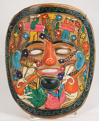Vntg Mexican Ceramic Hanging Mask Folk Art Hand Made Painted Collectible Rabbits
