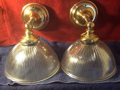 Pair Heavy Vintage Brass Wall Lights Sconces Ribbed Glass Shades Spain