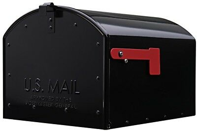 Mailbox Mail Box Extra Large Post Mount Black Steel Rust Weather Resistant