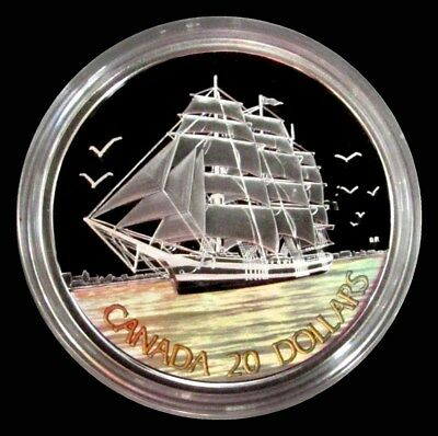 2005 SILVER CANADA PROOF TALL SHIP 1oz $20 HOLOGRAPHIC COIN OGP