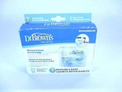 Dr. Brown's Microwave Sterilizing Bags Baby Bottle Cleaning 5 Count BPA Free