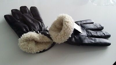 Authentic Mens Leather Gloves Super Quality Sheeps wool lined