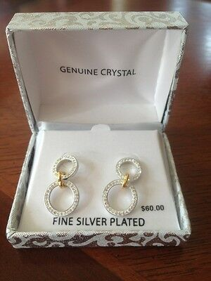 Fine Silver Plated ~ Genuine Crystal ~ Double Ring Earrings ~ Silver & Gold Tone