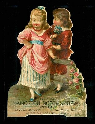 Little Sweethearts Meet At The Fence-Victorian Diecut Trade Card-Shoes