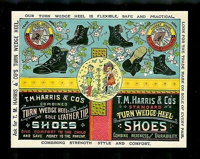 Marvelous Colorful Victorian Trade Card-Harris Co. Shoes