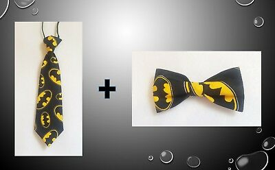 Batman Logo Tie AND Bow tie SET for kids toddler baby FAST SHIPPING!