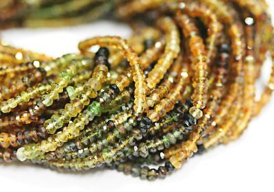 """Natural Multi Petro Tourmaline Faceted Rondelle Craft Loose Beads Strand 3mm 14"""""""