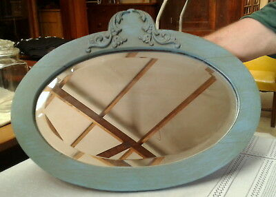 Oval Blue Painted Oak Mirror with Bevel Glass 1920 Era Applied Carvings Antique