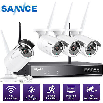 SANNCE Wireless 4CH 1080P NVR Outdoor 720P WIFI CCTV Security IP Camera System