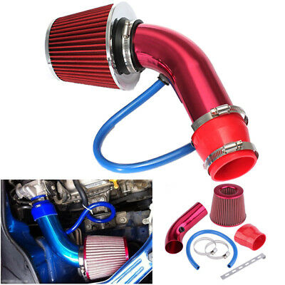 """3"""" Red 76mm Aluminum Car Cold Air Intake Induction Pipe Hose Cone Filter Kit"""