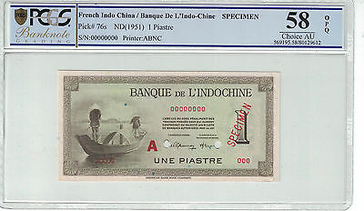 French Indochina - Specimen 1 Piastres 1951 Pmg-58 Opq ( #650 )
