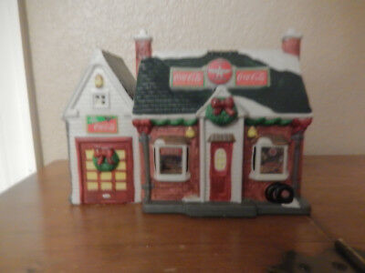 1993 Coca-Cola Town Square Collection Christmas Village Flying A Gas Station