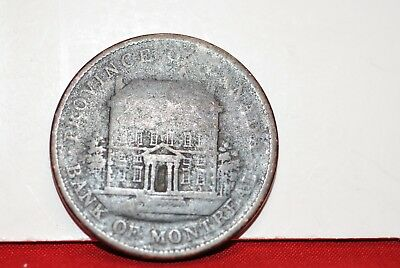 Canada: 1842 Bank of Montreal 1 Penny Token coin in about good.