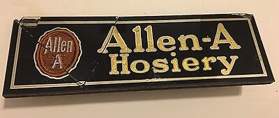 Rare Vtg Allen-A Hosiery Advertising Reverse On Glass Sign Store Counter Display