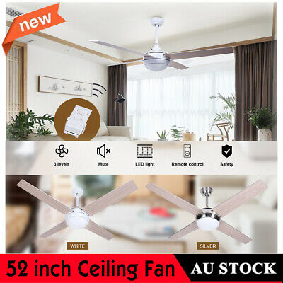 New White/Silver 52 inch Ceiling Fan Light With Remote for Living Room AU