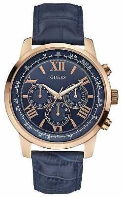 Guess Mens Horizon Rose Gold & Blue Chronograph W0380G5 Watch - 10% OFF!