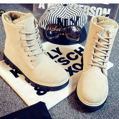 Work Women's Winter Warm Casual Leather Fur Lace up Outdoor Snow Boot Oaul #010