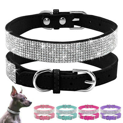 Crystal Diamante Cat Dog Collars Fancy Bling Rhinestone Dog Necklace Pink Blue
