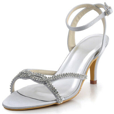 EP2056 Open Toe  Sandals High Heel Slingback Buckles Satin Wedding Party Shoes