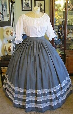 Civil War Dress~Victorian Style Lovely 100% Cotton Steel Gray Skirt