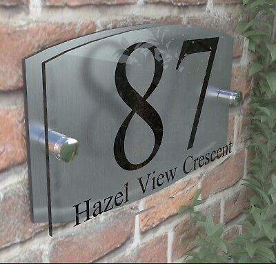Contemporary Acrylic House Sign Plaque Door Number 1 - 9999 Personalised Plate