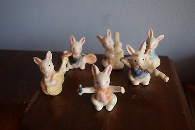 6 Small Mini Ceramic Rabbits Bunnies Playing Instruments Band Concert