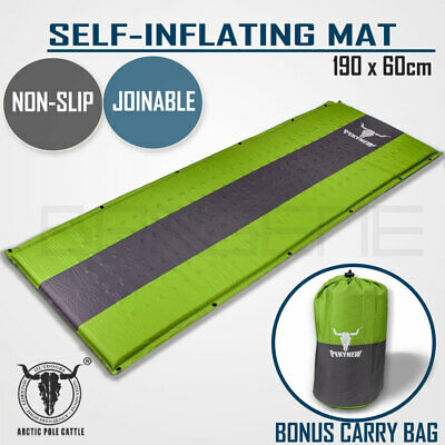 Self Inflating Mattress Sleeping Mat Air Bed Camping Camp Hiking Joinable Green