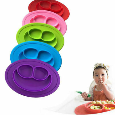 Kids Baby Dinner Feeding Dish One-piece Silicone Placemat Plate Suction Mini Mat