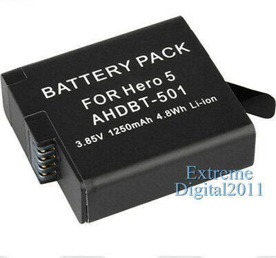 1250mAh Battery For GoPro AHDBT-501 For GoPro Hero 7 Hero 6 Hero 5 Black Camera