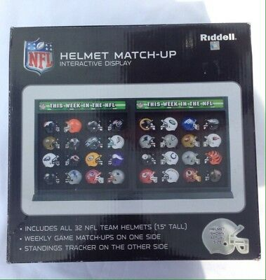Riddell 32 Micro Gumball NFL Helmet Set & Match Up/Standings Display Case
