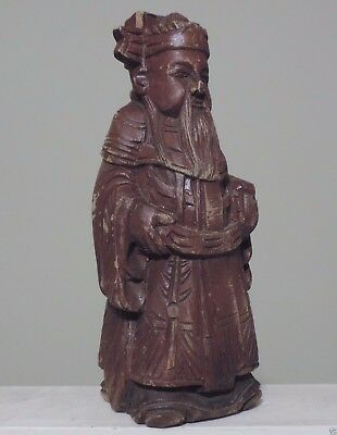 Antique Chinese Hand Carved Wood Statue of daoist happiness God Fuxing.